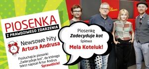 "Mela Koteluk w piosence ""Zadecyduje kot"" z tekstem Artura Andrusa"